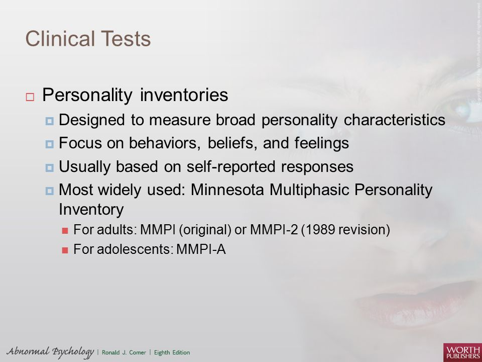 Clinical Tests Personality inventories
