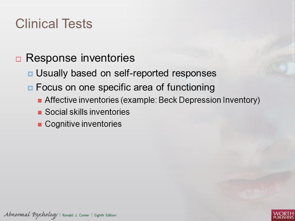 Clinical Tests Response inventories
