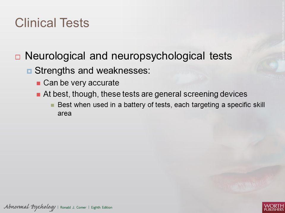 Clinical Tests Neurological and neuropsychological tests