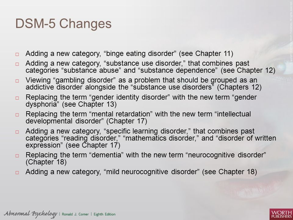 DSM-5 Changes Adding a new category, binge eating disorder (see Chapter 11)