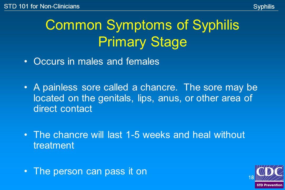 Common Symptoms of Syphilis Primary Stage