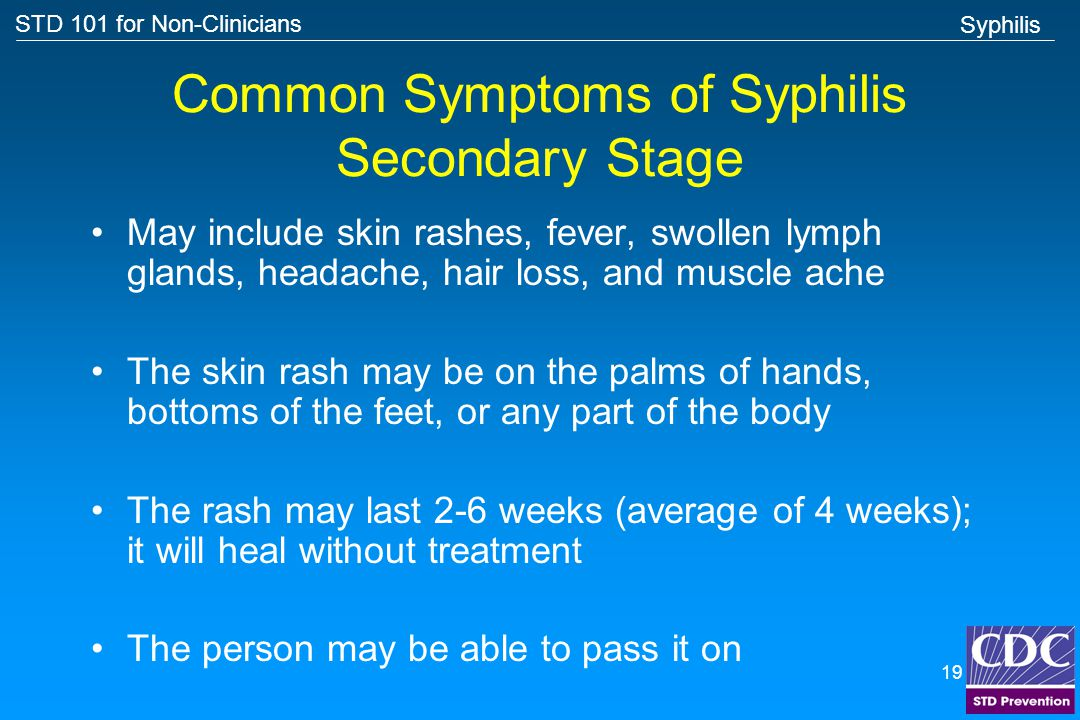 Common Symptoms of Syphilis Secondary Stage