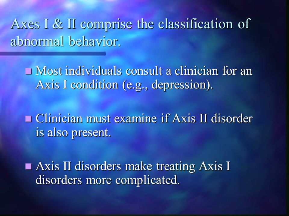 Axes I & II comprise the classification of abnormal behavior.