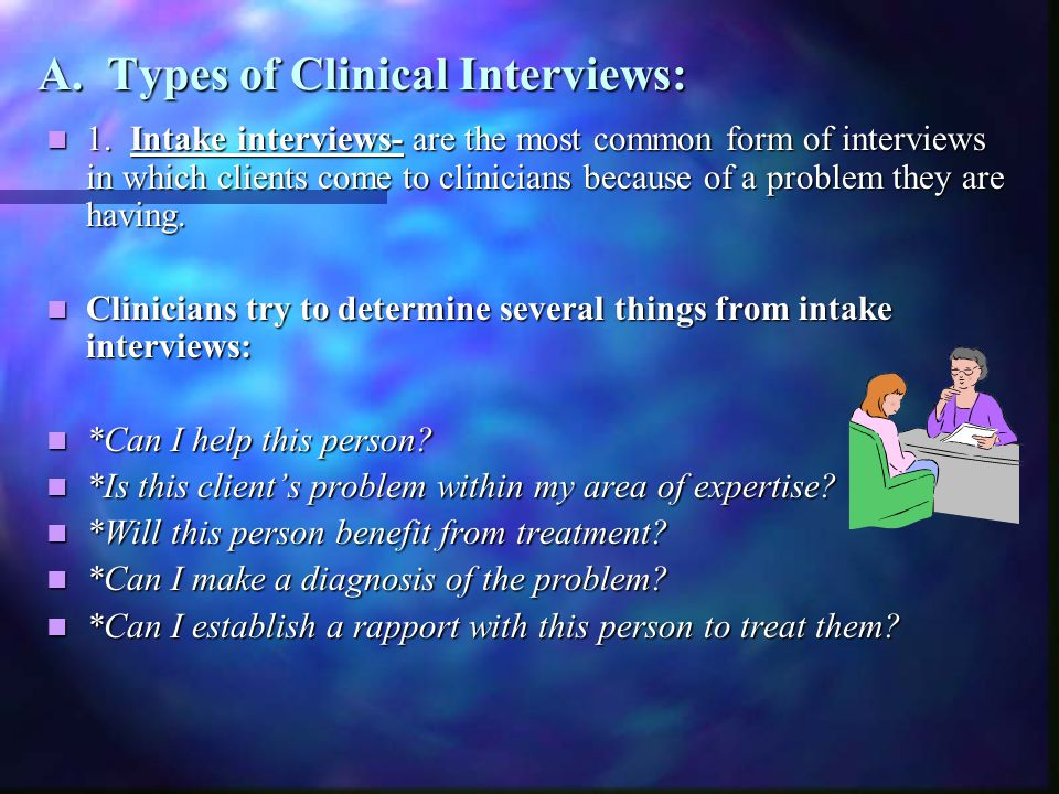 A. Types of Clinical Interviews: