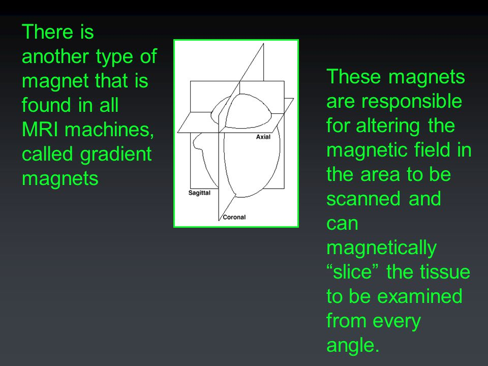 There is another type of magnet that is found in all MRI machines, called gradient magnets