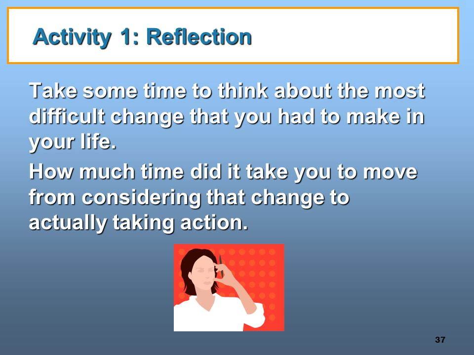 Activity 1: Reflection Take some time to think about the most difficult change that you had to make in your life.