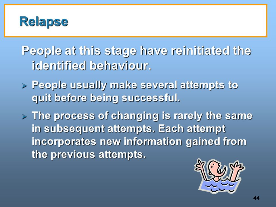 Relapse People at this stage have reinitiated the identified behaviour. People usually make several attempts to quit before being successful.