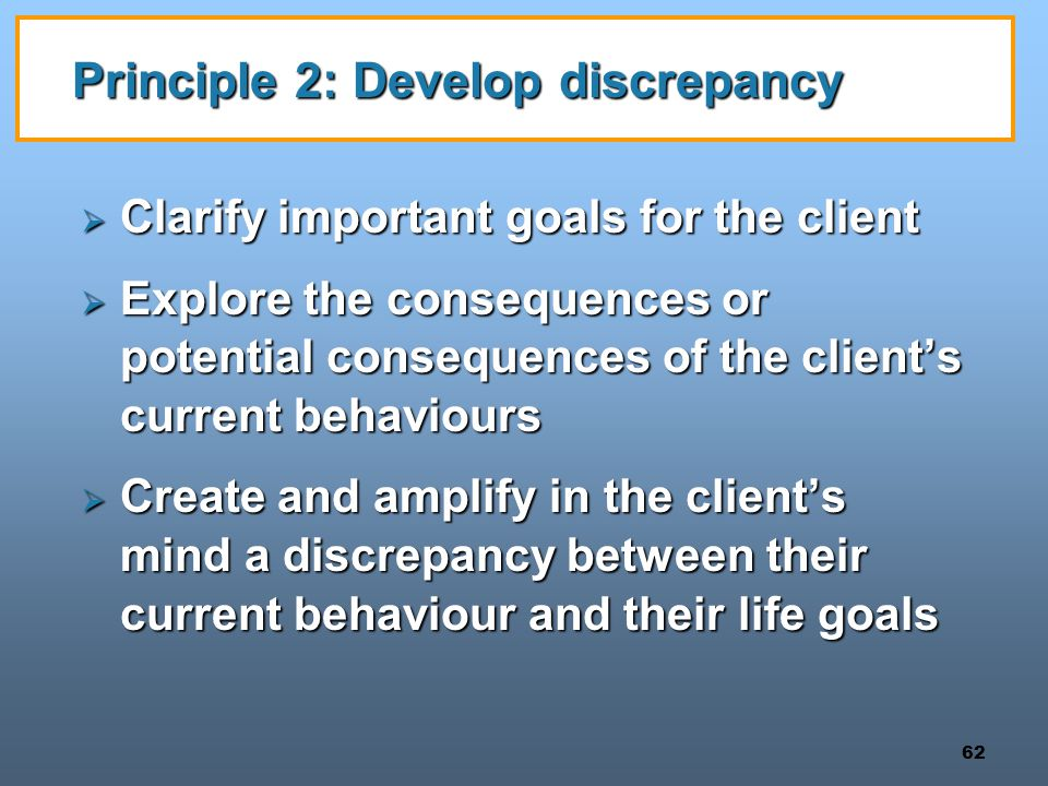 Principle 2: Develop discrepancy