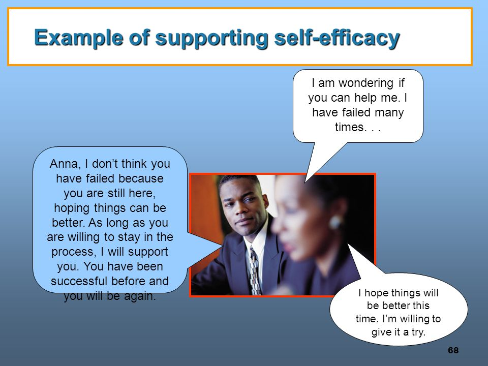 Example of supporting self-efficacy