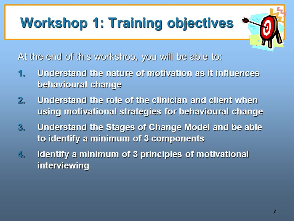 Workshop 1: Training objectives