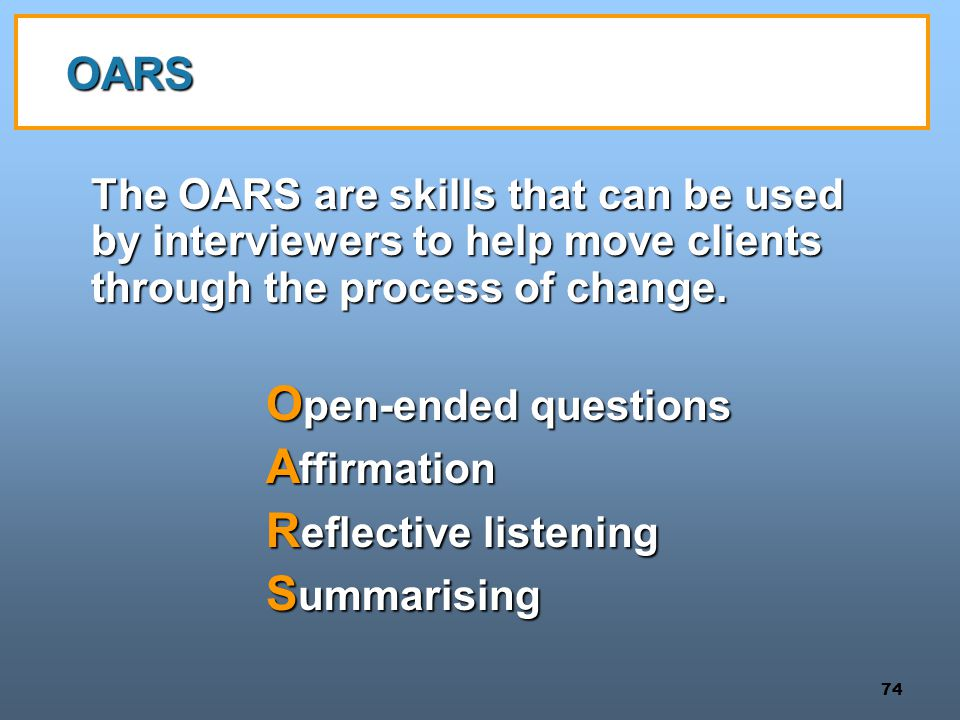 Open-ended questions Affirmation Reflective listening Summarising OARS