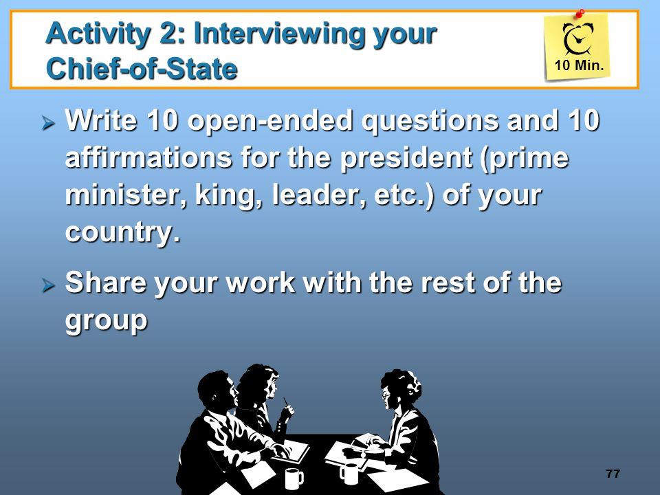 Activity 2: Interviewing your Chief-of-State