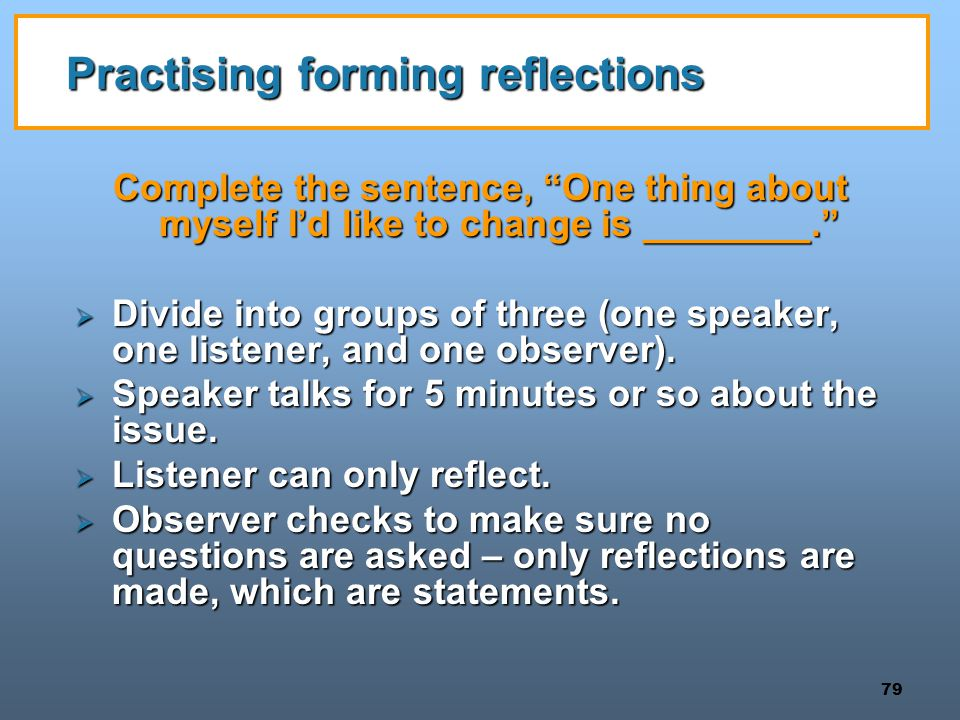 Practising forming reflections