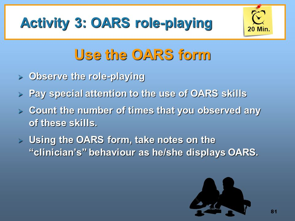 Activity 3: OARS role-playing
