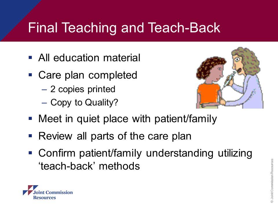 Final Teaching and Teach-Back