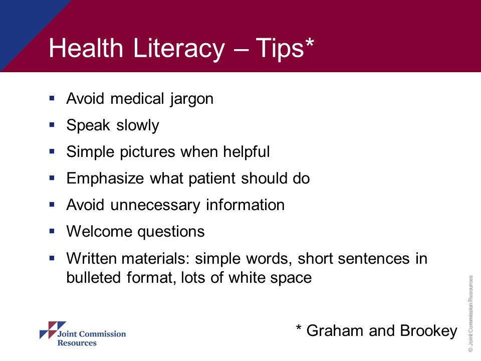 Health Literacy – Tips*