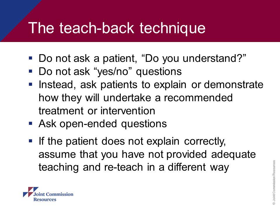 The teach-back technique