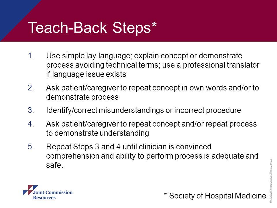 Teach-Back Steps*