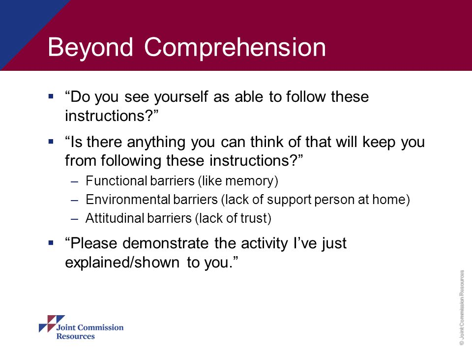 Beyond Comprehension Do you see yourself as able to follow these instructions