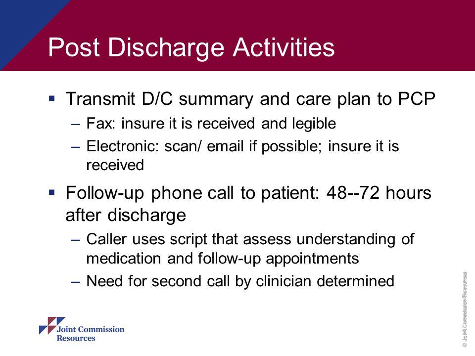 Post Discharge Activities