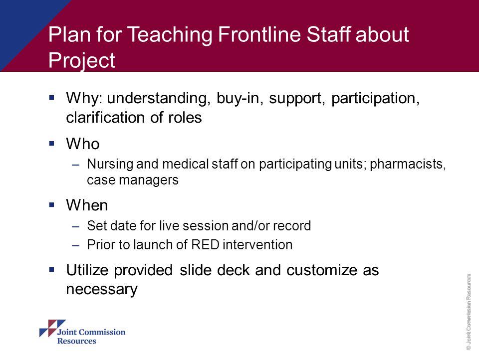 Plan for Teaching Frontline Staff about Project