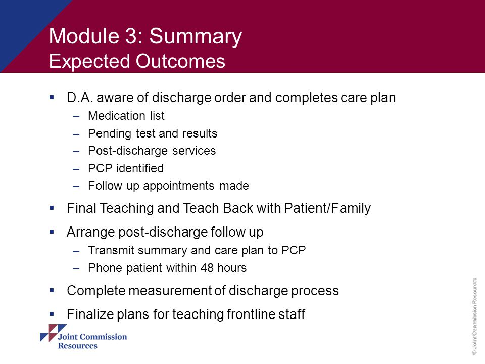 Module 3: Summary Expected Outcomes