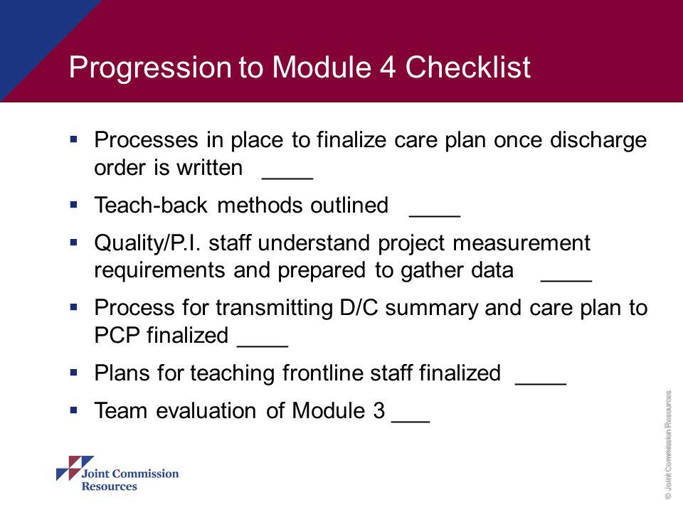 Progression to Module 4 Checklist