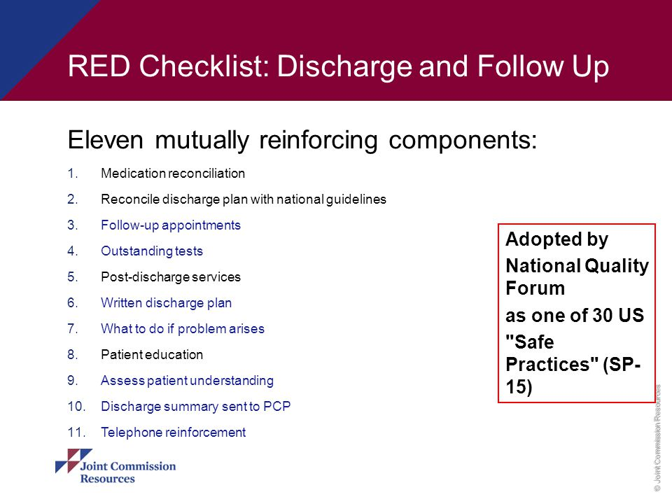 RED Checklist: Discharge and Follow Up
