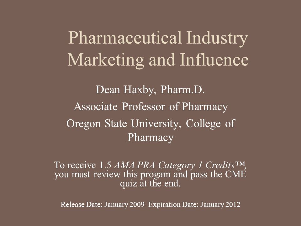 Pharmaceutical Industry Marketing and Influence