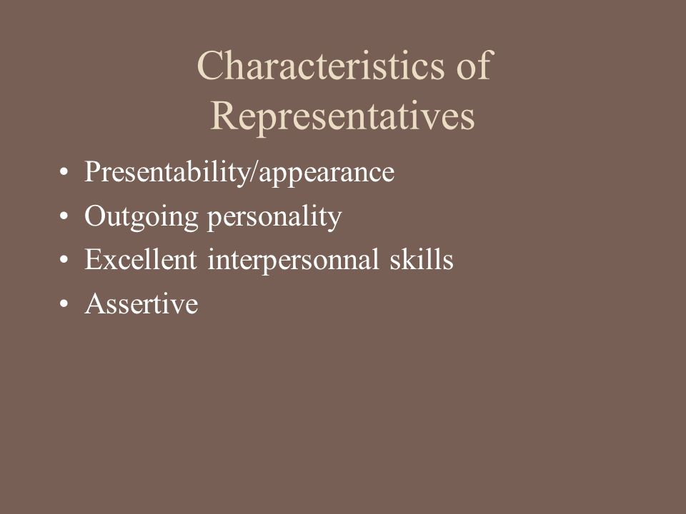 Characteristics of Representatives
