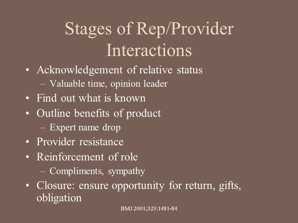 Stages of Rep/Provider Interactions