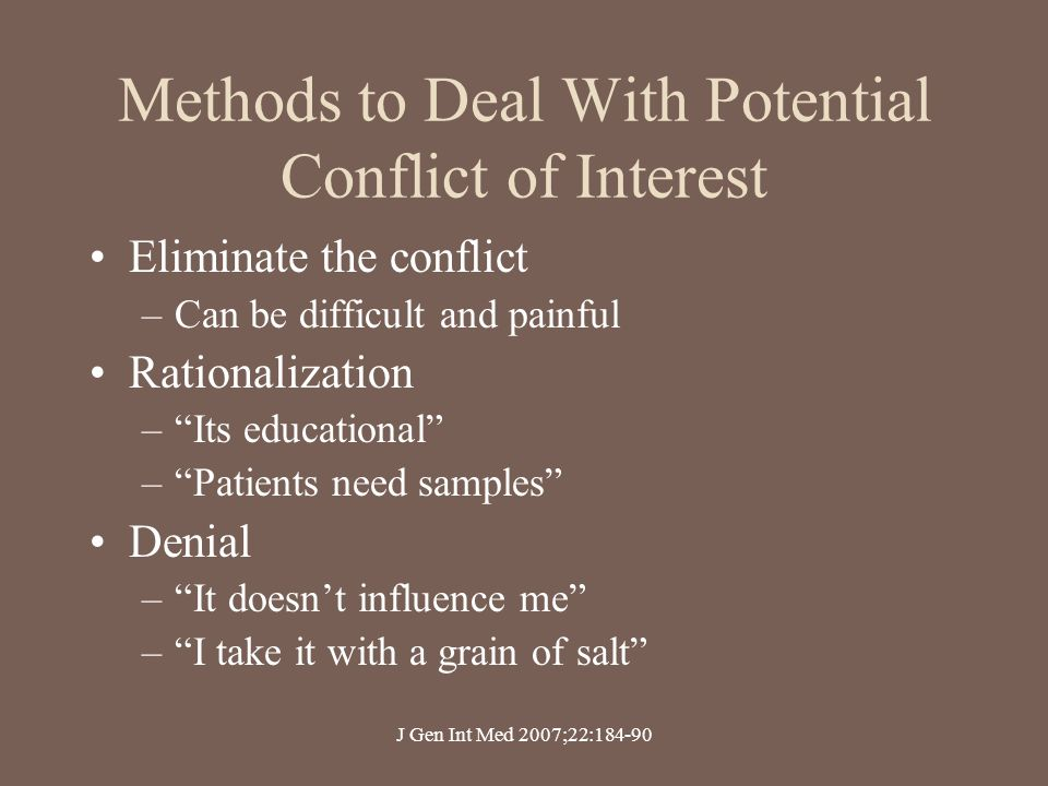Methods to Deal With Potential Conflict of Interest