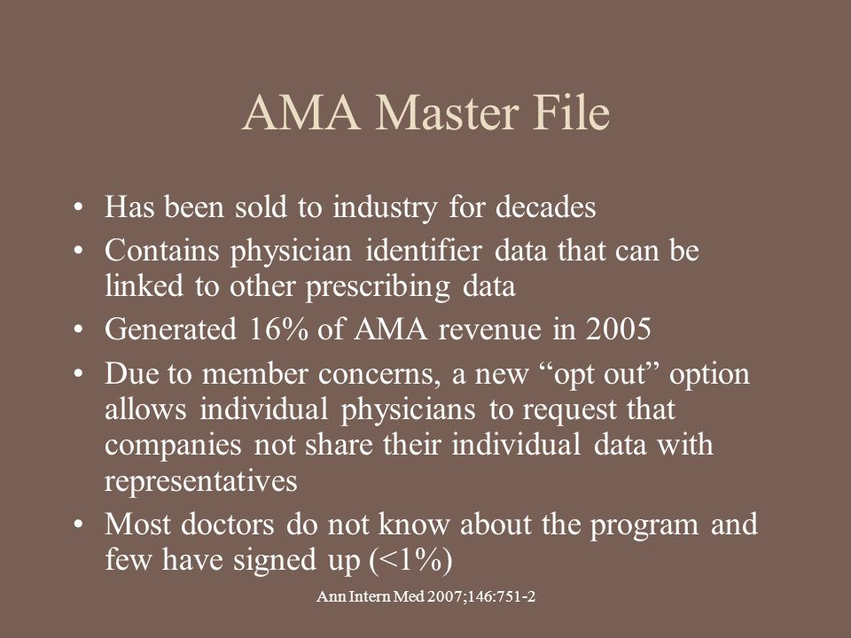 AMA Master File Has been sold to industry for decades