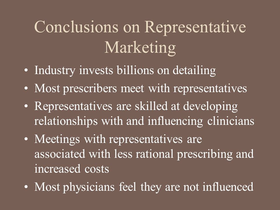 Conclusions on Representative Marketing