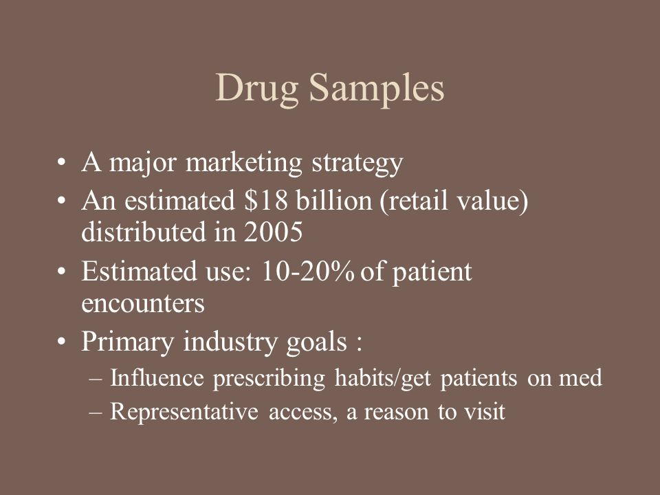 Drug Samples A major marketing strategy