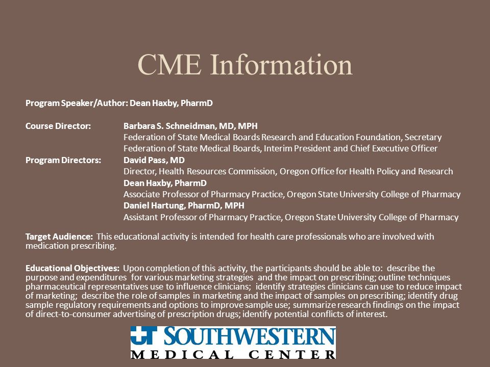 CME Information Program Speaker/Author: Dean Haxby, PharmD