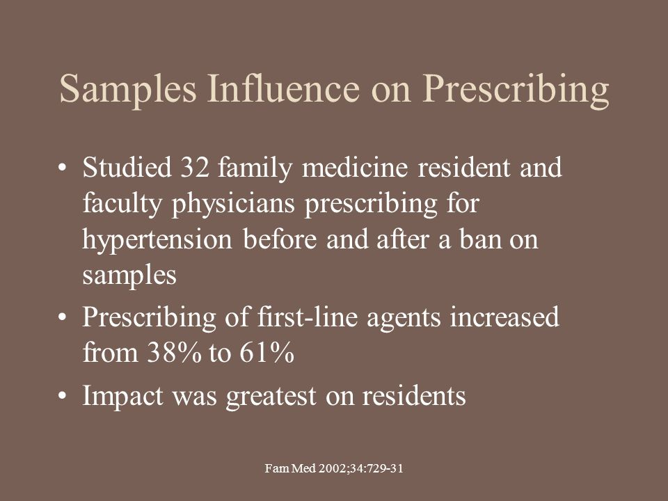 Samples Influence on Prescribing