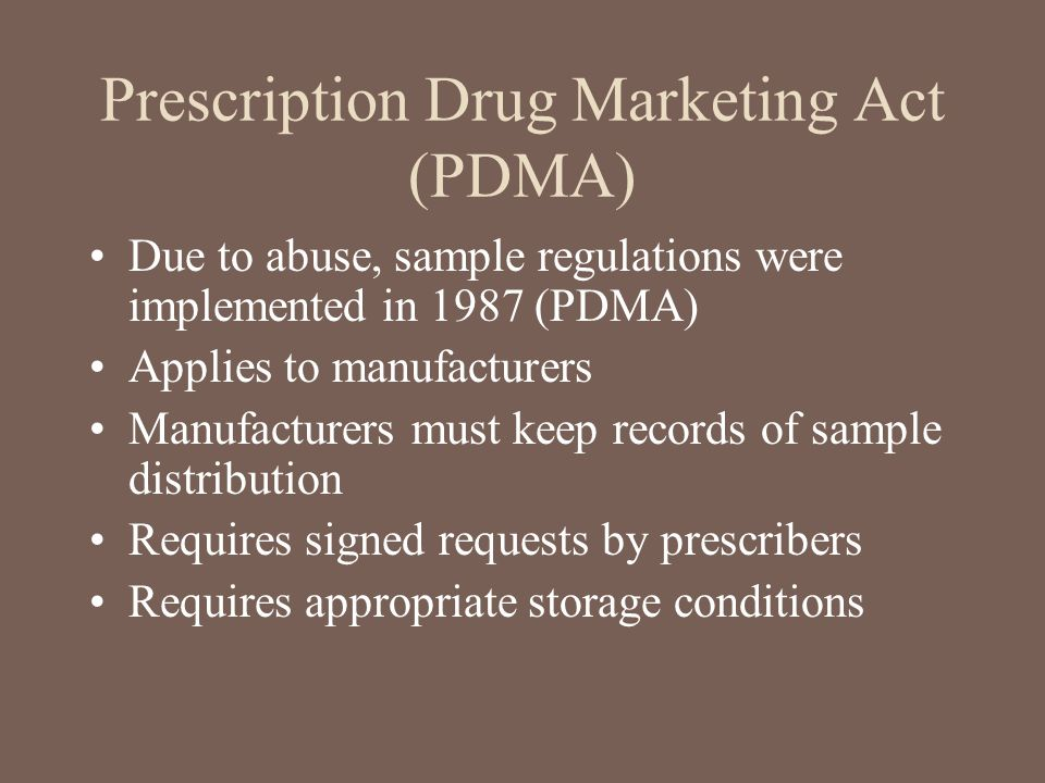 Prescription Drug Marketing Act (PDMA)