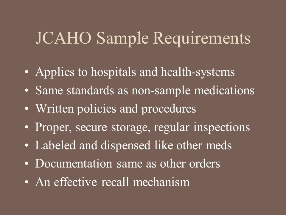 JCAHO Sample Requirements