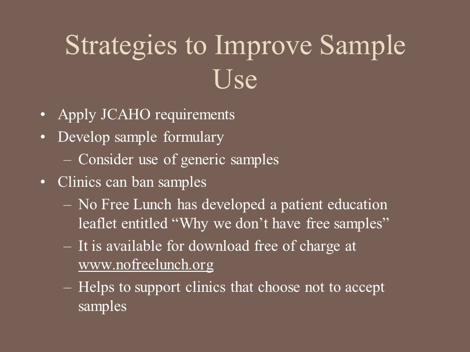 Strategies to Improve Sample Use