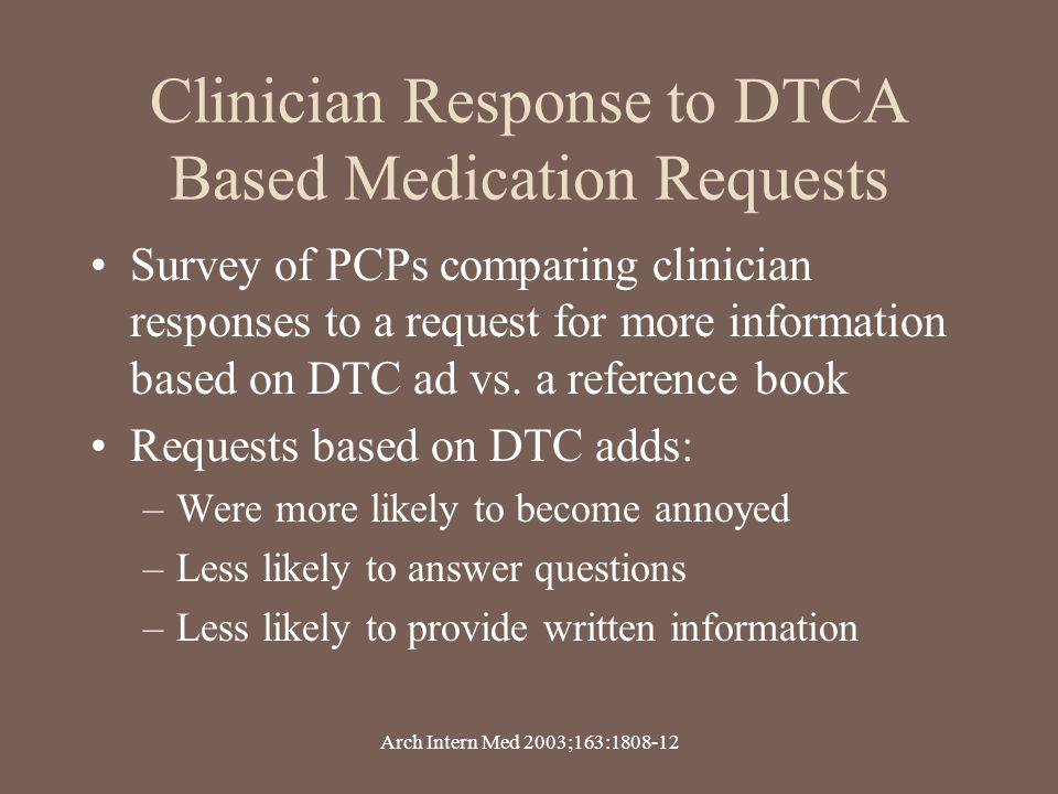Clinician Response to DTCA Based Medication Requests