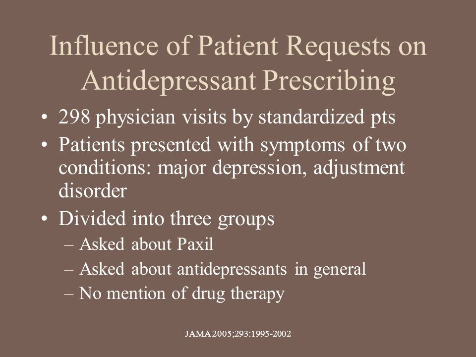 Influence of Patient Requests on Antidepressant Prescribing