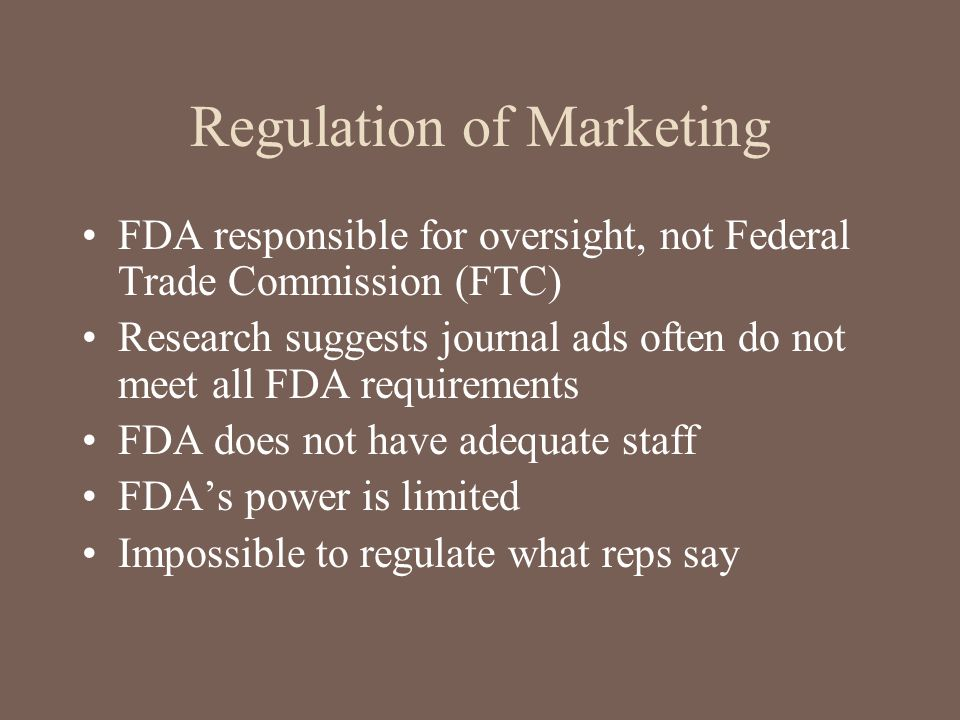 Regulation of Marketing