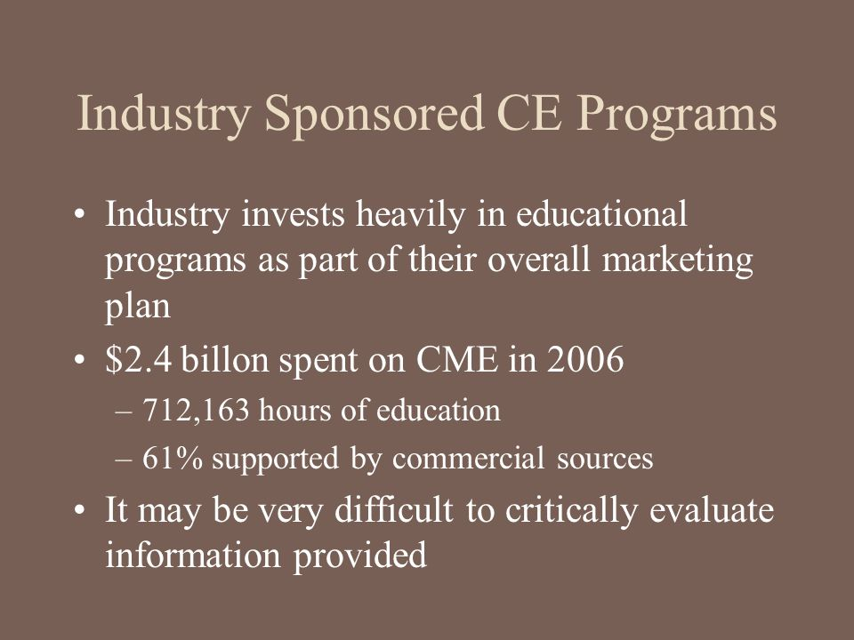 Industry Sponsored CE Programs