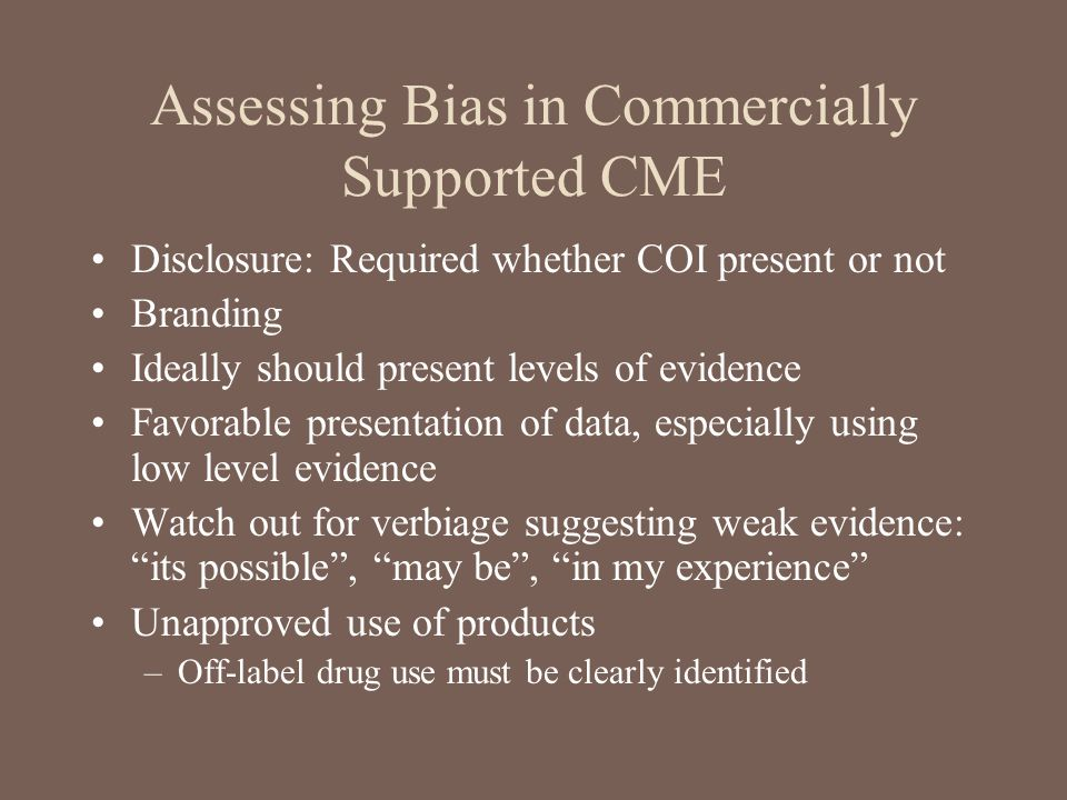 Assessing Bias in Commercially Supported CME