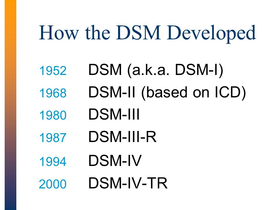 How the DSM Developed DSM (a.k.a. DSM-I) DSM-II (based on ICD) DSM-III