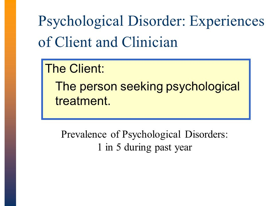 Psychological Disorder: Experiences of Client and Clinician
