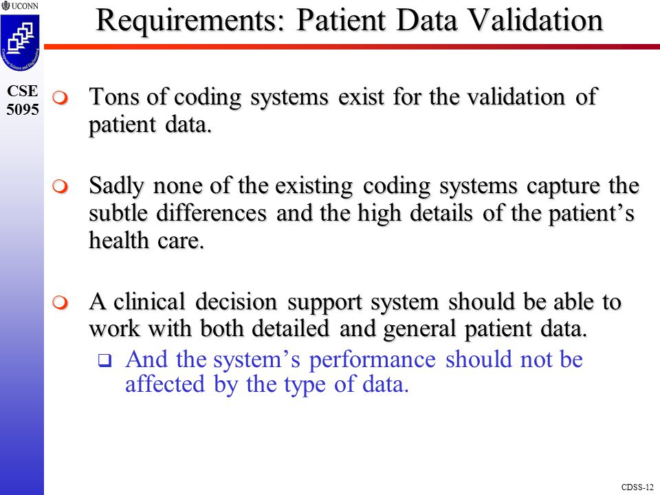 Requirements: Patient Data Validation