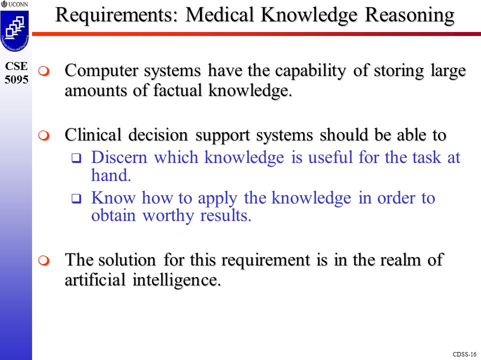 Requirements: Medical Knowledge Reasoning