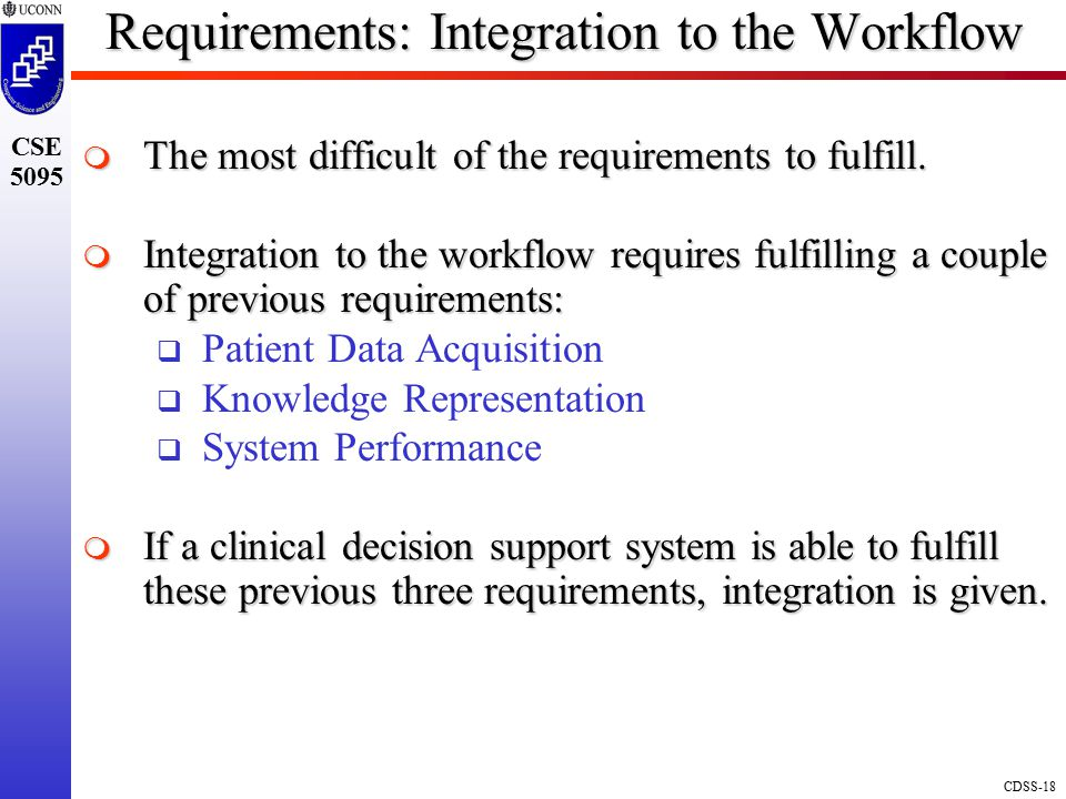 Requirements: Integration to the Workflow